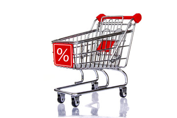 Shopping cart with percent sign, sale isolated on white background