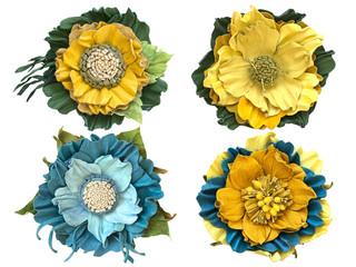 Handmade flowers leather brooch