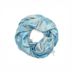 blue women's scarf with pattern isolated on white