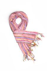 pink women's scarf with pattern isolated on white