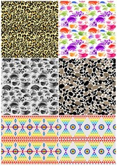 Abstract seamless background collection with strokes,  animal print, abstract pebbles pattern and ethnic geometric print for fabric, textile, wrapping paper, wallpaper, web design