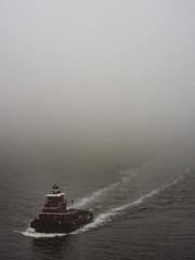 Tug Boat Moving Through Fog