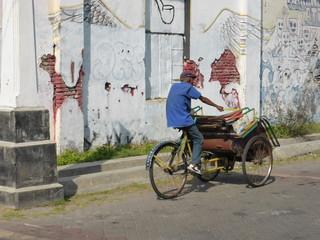 Cyclist on Java, Indonesia