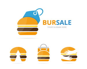 Set of burger logo combination. Hamburger and shop symbol or icon. Unique fastfood and label logotype design template.