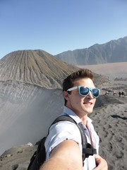 Selfie of a young man on the Bromo Volcano Java, Indonesia