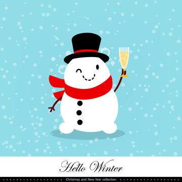 Playful snowman. Winter, Christmas and New Year illustration. Element of the collection. Vector illustration