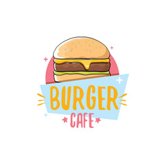 vector cartoon burger cafe logo design template with hamburger . label design element or burger house logo