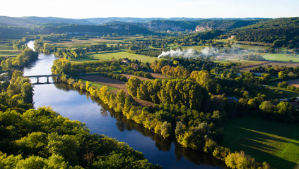 Dordogne am frühen Morgen, Blick von Domme