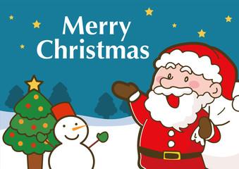 サンタクロースのクリスマスカードイラスト