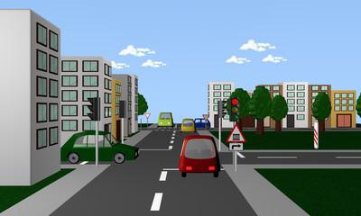 Straße mit roter Ampel, farbigen Autos und dem Straßenschild: Bahnübergang