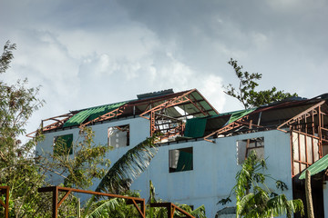 Modern buildings completely destroyed by the passage of a major hurricane / super typhoon