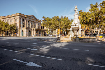 View on the Antonio Lopez square during the sunny weather in the old town of Barcelona city