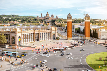 Top view on the Spain square with Venetian columns and Art museum in Barcelona