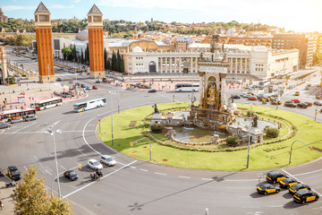 Top view on the Spain square with Venetian columns and fountain in Barcelona city
