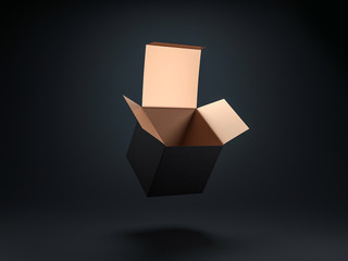 Square opened Black box with gold coating inside, 3d rendering