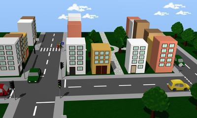 Stadtansicht mit Verkehrsstraßen, Kreuzung, Ampel und Park. Ansicht von oben.