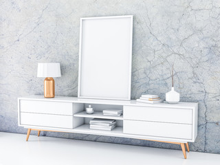 White poster Frame standing on the modern bureau in modern interior with concrete wall. 3d rendering