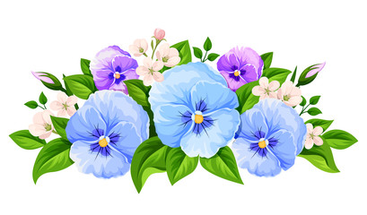 Vector blue and purple pansy flowers isolated on a white background.