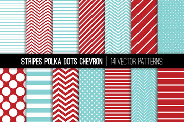 Christmas Aqua Red Polka Dot, Chevron and Diagonal and Horizontal Stripes Vector Patterns. Modern Minimal Backgrounds. Tiny and Jumbo Spots and Various Thickness Lines. Tile Swatches Included.