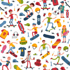 Young skateboarder active people sport vector extreme active skateboarding urban jumping tricks seamless pattern background.