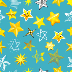 Different style shape silhouette shiny star icons collection vector illustration seamless pattern background