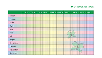 zykluskalender schmetterling in pastelltönen