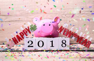 Happy New Year Glück Karte Schwein 2018