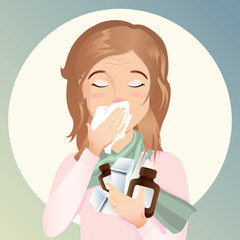 Young woman is sick. She has a runny nose and cough and holds the medicine in her hands. / vector cartoon illustration, flat design