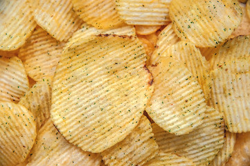 Beautiful Golden chips. Food background.