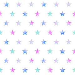Watercolor hand drawn seamless pattern of multicolor stars on white background