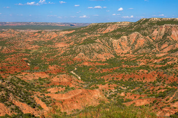 View of redrock canyon country in the Texas Panhandle from scenic Hamblen Drive, Texas Hwy 207