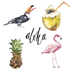 Aloha. Set of cute tropical stickers with flowers, coconut and pineapple and birds. Cute stickers, patches or pins collection. Tropical vibes stickers set.