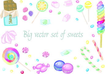 Big set of candies, chocolate and  lollipops in vector