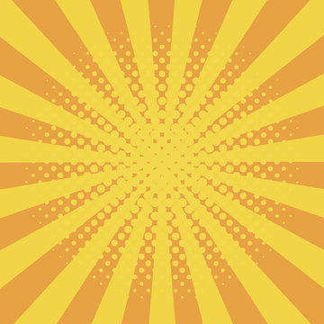 Comic background with halftone effect and sunburst. Comic book elements with dots and sunray. Yellow starburst abstract backdrop. Vector illustration.