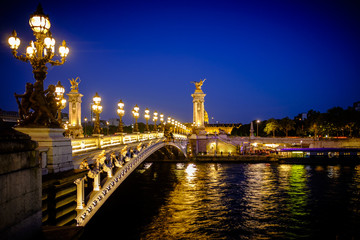 View of the Alexander III bridge, Paris, France