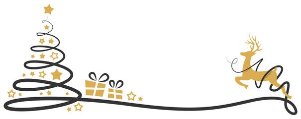 Weihnachtsbaum mit Rentier und Geschenken