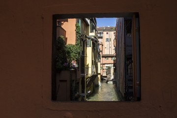 Foto op Canvas Kanaal The Canale delle Moline, one of the remaining canals of the city of Bologna, Italy