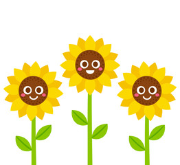 Smiling sunflowers illustration