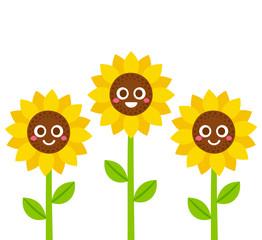 Smiling sunflowers illustration