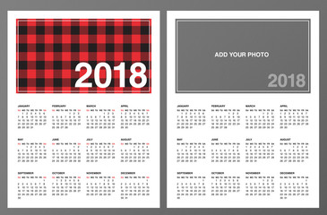 "Two 2018 Calendar Templates: Lumberjack patterned frame and ""Add your own photo"". Week starts on Sunday. Red black buffalo check plaid pattern swatch is included. Printable Letter size pages 8.5""x11"""