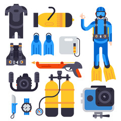 Set of flat elements for spearfishing diving underwater protective sea diver equipment vector professional hunter tools.