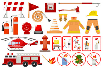 Firefighter elements fire department emergency city safety danger equipment fireman protection vector illustration.