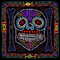 Day of the Dead colorful sugar skull. Contemporary folk art style vector illustration.