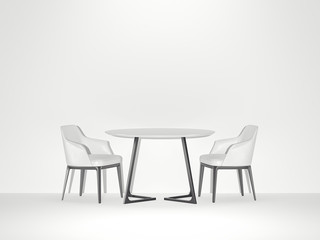 Two white chairs and table. 3d rendering