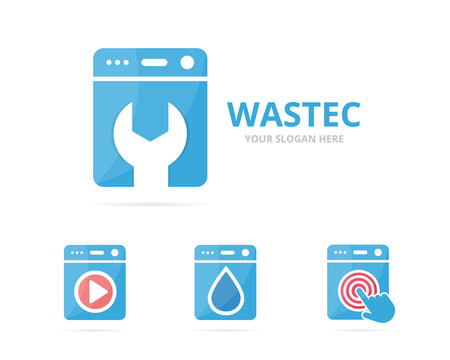 Set of laundry logo combination. Washing machine and repair symbol or icon. Unique washer and fix logotype design template.