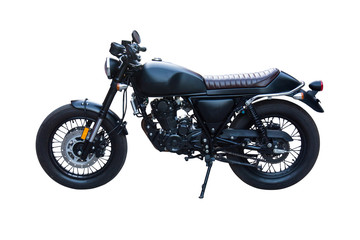 black classic motorbike isolated on white.With clipping path.Vintage old motorcycle.
