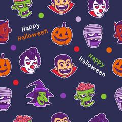 Original Halloween seamless pattern of zombie, mummy, clown, devil, witch, and dracula