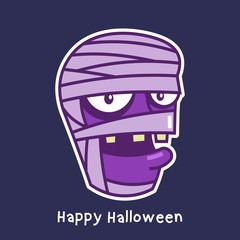 halloween card with mummy character avatar
