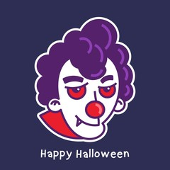 halloween card with ghost clown character avatar