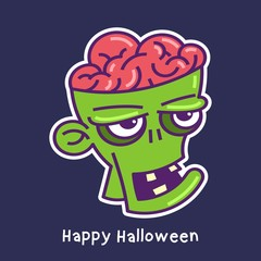 halloween card with zombie character avatar